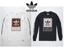 adidas Flower Patterns Long Sleeves Cotton Long Sleeve T-Shirts