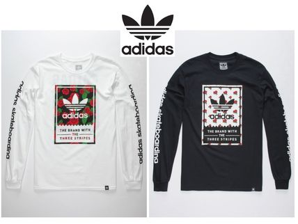 adidas Long Sleeve Flower Patterns Long Sleeves Cotton Long Sleeve T-Shirts