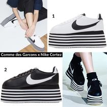 COMME des GARCONS Stripes Platform Round Toe Lace-up Casual Style Street Style