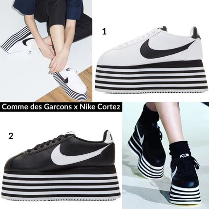Stripes Platform Round Toe Lace-up Casual Style Street Style