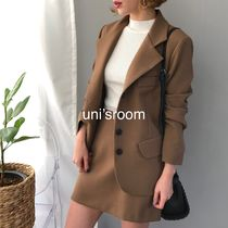 Short Tight V-Neck Long Sleeves Plain Elegant Style Khaki