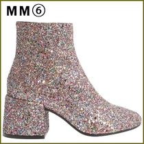MM6 Maison Margiela Block Heels PVC Clothing Elegant Style Ankle & Booties Boots