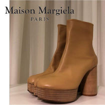 Maison Martin Margiela Plain Leather Block Heels Elegant Style High Heel Boots