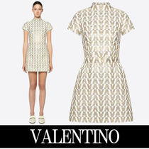VALENTINO Short Silk Bi-color Short Sleeves Home Party Ideas High-Neck