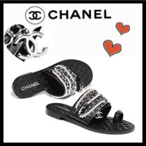 CHANEL Casual Style Chain Plain Leather Sandals