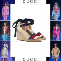 c1d5b608353 GUCCI Stripes Platform Casual Style Blended Fabrics Street Style