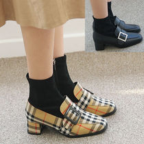 Other Check Patterns Square Toe Faux Fur Block Heels