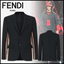 FENDI Short Stripes Wool Plain Blazers Jackets