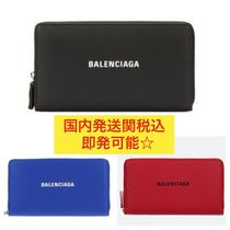 BALENCIAGA EVERYDAY TOTE Unisex Calfskin Street Style Plain Long Wallets