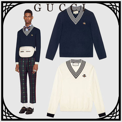 0e7d19a25 ... GUCCI Knits & Sweaters Stripes Unisex Wool Street Style V-Neck Long  Sleeves ...
