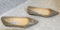 Jimmy Choo Plain Elegant Style Glitter Pointed Toe Shoes