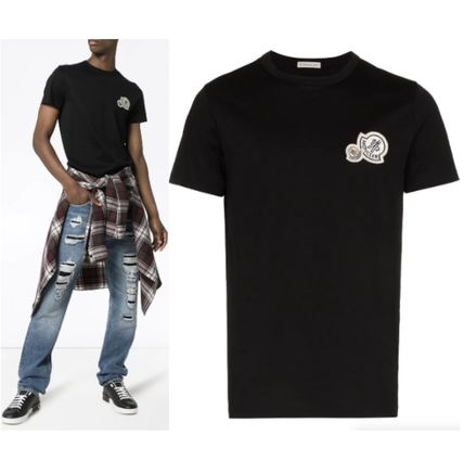 MONCLER More T-Shirts Unisex Street Style Plain Cotton Logo T-Shirts