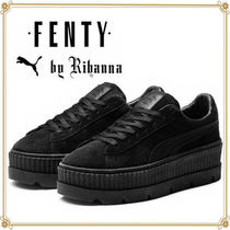 PUMA Rubber Sole Lace-up Casual Style Suede Street Style Plain
