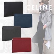CELINE Unisex Calfskin Bag in Bag Plain Bold Clutches