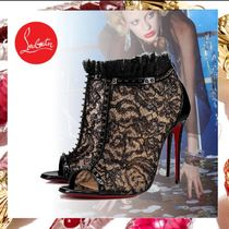 Christian Louboutin Flower Patterns Open Toe Studded Pin Heels Party Style