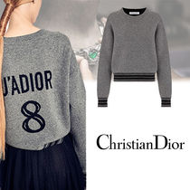 Christian Dior Cable Knit Casual Style Cashmere Long Sleeves Plain Medium