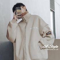 Street Style Bi-color Plain Oversized Track Jackets