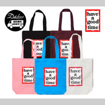 have a good time Casual Style Unisex Street Style Plain Totes