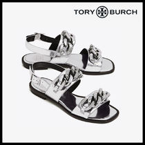 Tory Burch Open Toe Blended Fabrics Street Style Chain Plain Leather