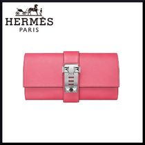 HERMES Studded Plain Leather Elegant Style Clutches