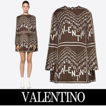 VALENTINO Crew Neck Short A-line Silk Bi-color Long Sleeves