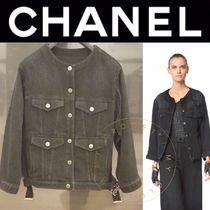 CHANEL ICON Flower Patterns Casual Style Denim Street Style Medium