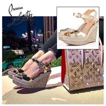 Christian Louboutin Open Toe Plain Leather Elegant Style