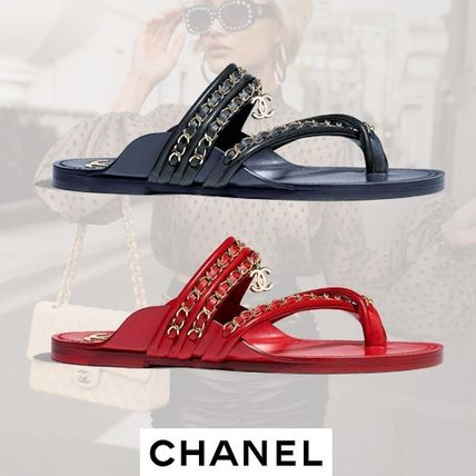 86fb8d96c1b ... CHANEL More Sandals Open Toe Plain Leather Block Heels Sandals ...