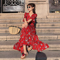 Flower Patterns Casual Style Tight Chiffon Blended Fabrics