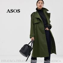 ASOS Casual Style Plain Long Khaki Trench Coats