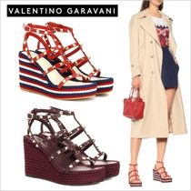 VALENTINO Stripes Open Toe Casual Style Studded Leather