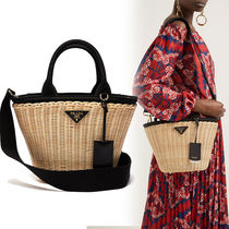 PRADA BIBLIOTHEQUE Blended Fabrics 2WAY Straw Bags