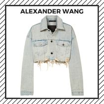 Alexander Wang Short Casual Style Denim Street Style Plain Fringes Jackets