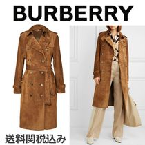 Burberry Suede Blended Fabrics Plain Long Elegant Style Trench Coats