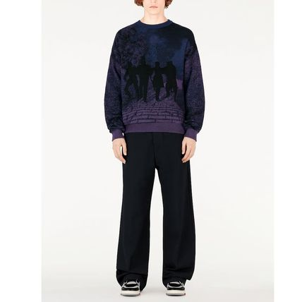 Louis Vuitton Knits & Sweaters Crew Neck Pullovers Wool Blended Fabrics Street Style 3