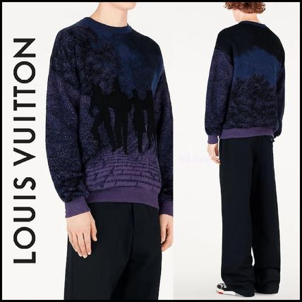 Louis Vuitton Knits & Sweaters Crew Neck Pullovers Wool Blended Fabrics Street Style
