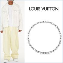 Louis Vuitton MONOGRAM Unisex Street Style Bi-color Chain Silver