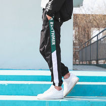Stripes Street Style Bi-color Cotton Joggers & Sweatpants