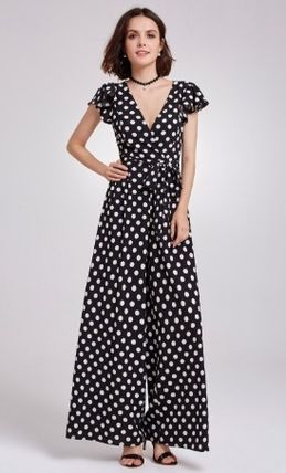Dungarees Dots V-Neck Long Short Sleeves Elegant Style