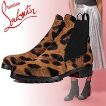 Christian Louboutin Round Toe Other Animal Patterns Chelsea Boots Elegant Style