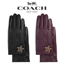 Coach Star Plain Leather Leather & Faux Leather Gloves