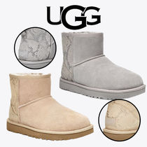 UGG Australia CLASSIC MINI Round Toe Rubber Sole Casual Style Sheepskin Plain