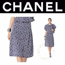 CHANEL Flared Skirts Blended Fabrics Plain Cotton Medium Oversized