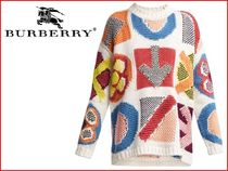 Burberry Casual Style Cashmere Street Style Long Sleeves Medium