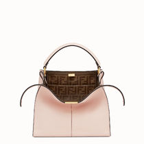 FENDI PEEKABOO Monogram 2WAY Plain Leather Elegant Style Crossbody