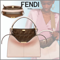 FENDI PEEKABOO Monogram 2WAY Plain Leather Elegant Style Handbags