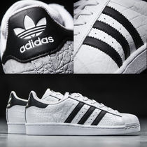 adidas SUPERSTAR Round Toe Rubber Sole Unisex Street Style Plain