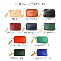 IL BISONTE Unisex Plain Leather Coin Cases