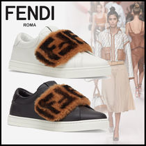 FENDI Monogram Round Toe Rubber Sole Casual Style Plain Leather