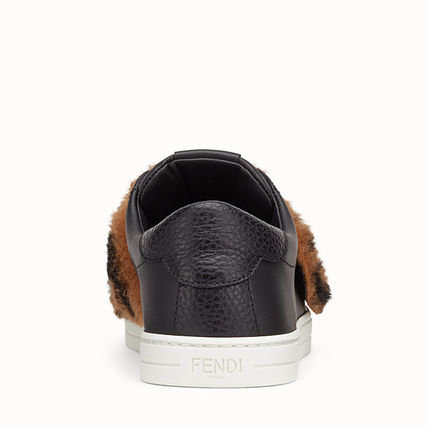 FENDI Low-Top Monogram Round Toe Rubber Sole Casual Style Plain Leather 4